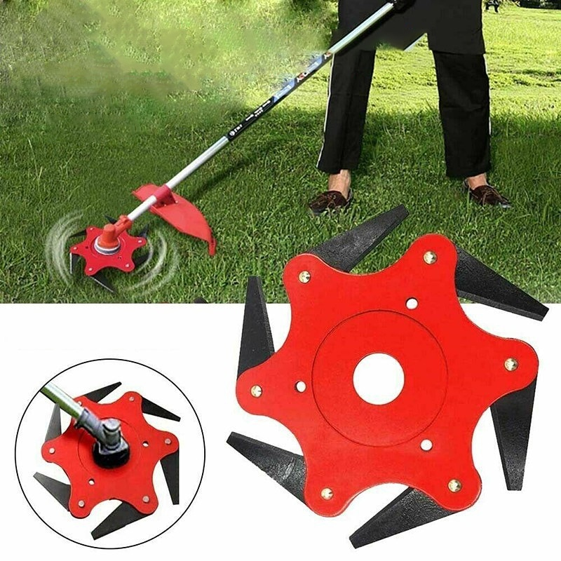new brush cutting head steel wire grass trimmer head brushcutter gearbox gearhead lawnmover part replace adapter for garden tool New Steel Sawtooth Garden Lawn Mower Trimmer Head 6 Cutter Head Steel Blade Head Grass Weed Brush Cutting Head Garden Power Tool