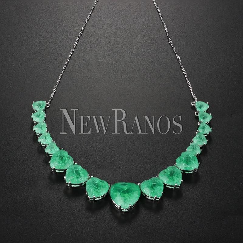 Collar de corazón de cristal Newranos, Gargantilla de piedra de fusión Natural azul para mujer, joyería de moda NFX0013124