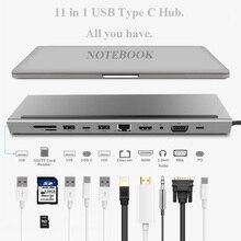 11 En 1 Hub tipo C con USB para ordenador portátil, adaptador, estación de acoplamiento HDMI VGA RJ45 PD para MacBook HP Lenovo superficie Compatible con Thunderbolt 3