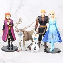 Disney Princess Toys 5pcs/Lot 9-14cm Frozen 2 Snow Queen Elsa Anna Olaf Sven Kristoff Pvc Action Figure Doll For Kids Gift