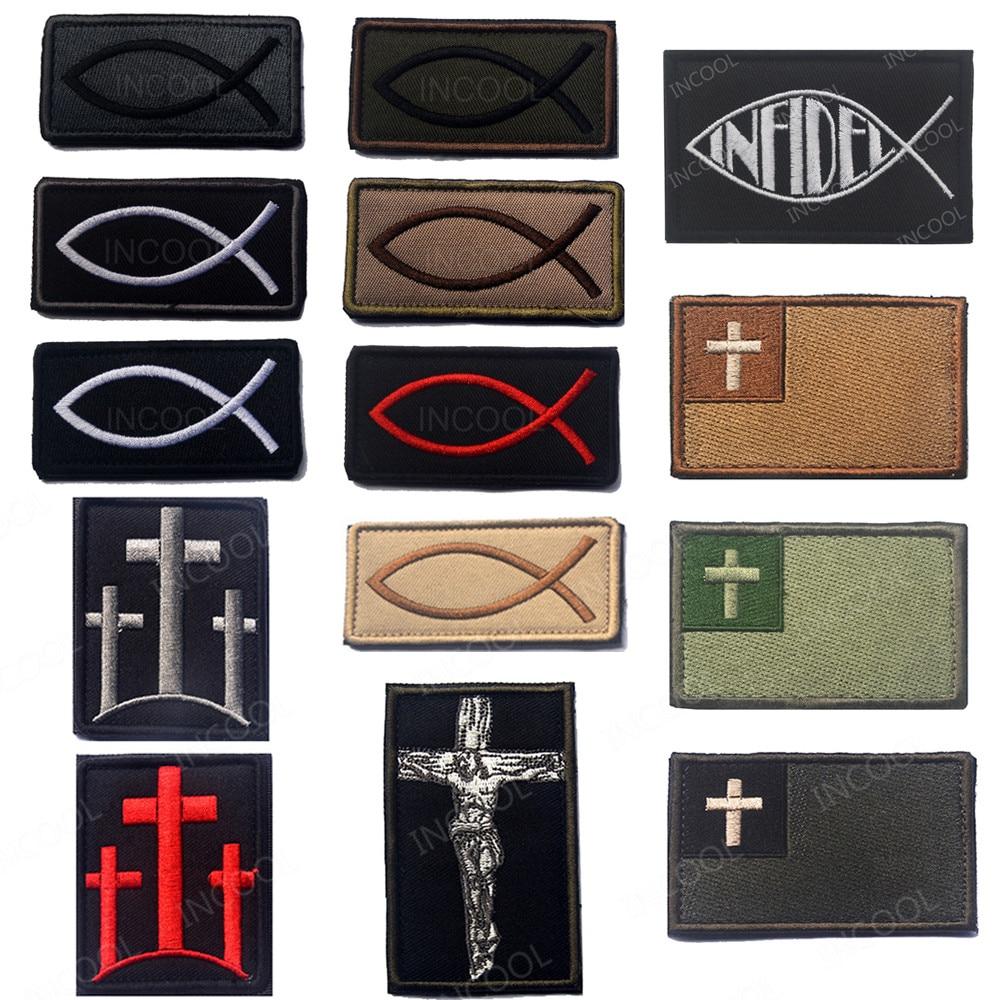 Parche bordado pez Jesús parche moral cristiano pez símbolo táctico emblema insignias militares apliques parches bordados