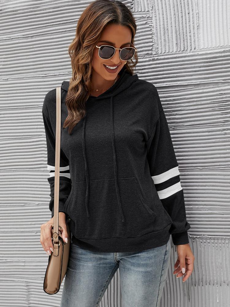 Женская толстовка в полоску на осень, пуловер с длинным рукавом, модная Повседневная зимняя Свободная Женская толстовка с капюшоном