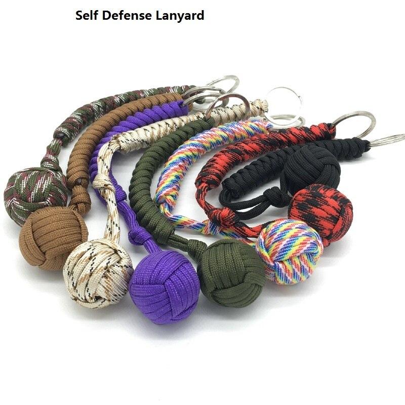 Ventanas rotas, protección de seguridad para exteriores, bola de acero negra Puño de Mono para niña, cordón de defensa personal, llavero de supervivencia