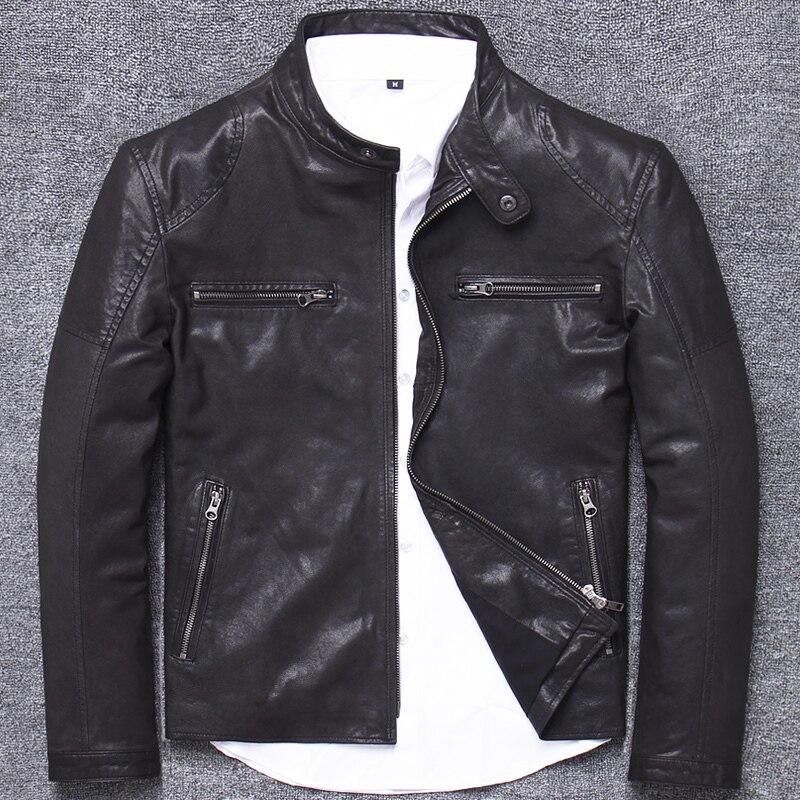 جاكيت رجالي من الجلد الطبيعي 100% ، معطف من جلد الغنم الأصلي ، ملابس الشارع ، راكب الدراجة النارية ، L1933 ، خريف وشتاء 2020