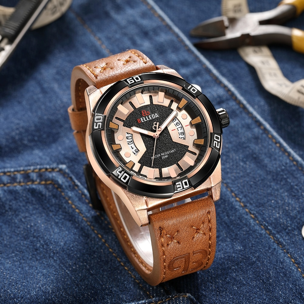 Leather Fashion Luxury BELLEDA Brand Rose Gold Mens Sports Analog Dual Display Black Quartz WristWatches Watch Men Watches