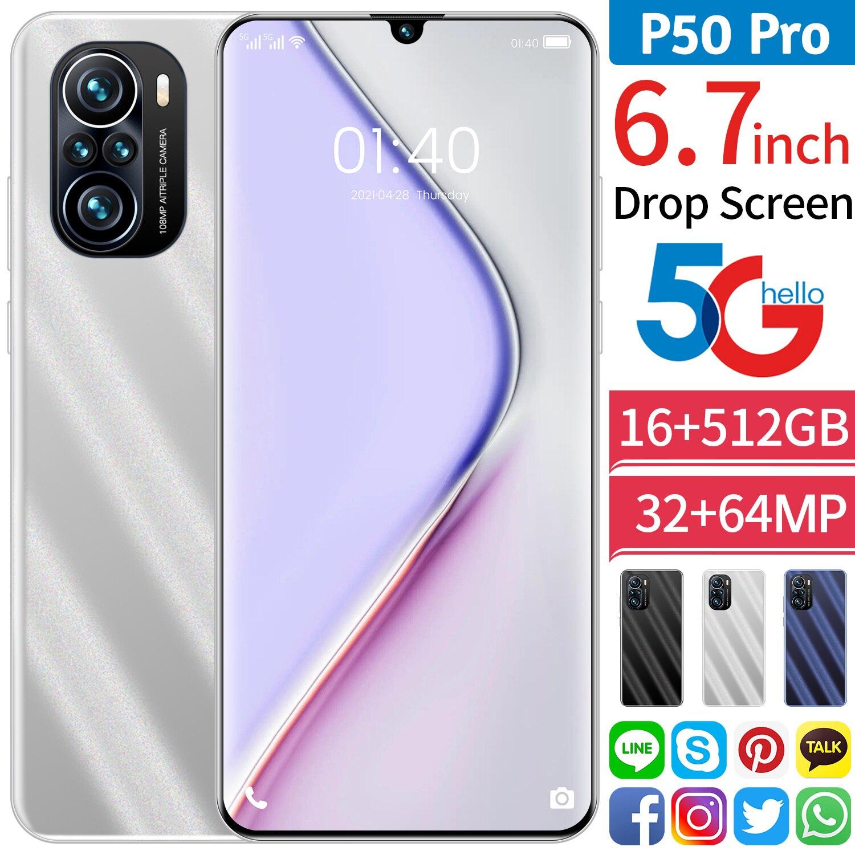 الهاتف الذكي الجديد 5G موديل 2021 بذاكرة كبيرة 16 جيجا بايت + 512 جيجا بايت لهاتف هواوي P50 برو ذو فتحة لبطاقة ثلاثية لهاتف شاومي وسامسونج