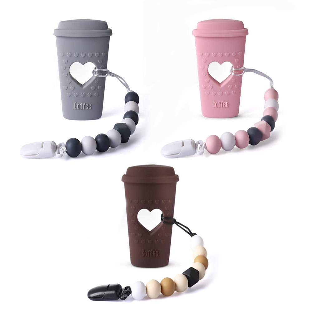Juguetes para la dentición del bebé taza de café mordedor de silicona con chupete con pinza de soporte Kit suave infantil suministros para regalos de navidad del bebé