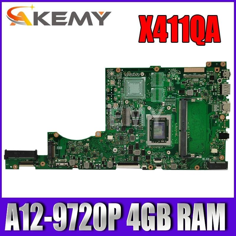 X411QA اللوحة الأم ث/A12-9720P 4 جيجابايت/ذاكرة الوصول العشوائي ل Asus X411QA X411QR X411Q X411 اللوحة الأم للكمبيوتر المحمول X411QR Mianboard