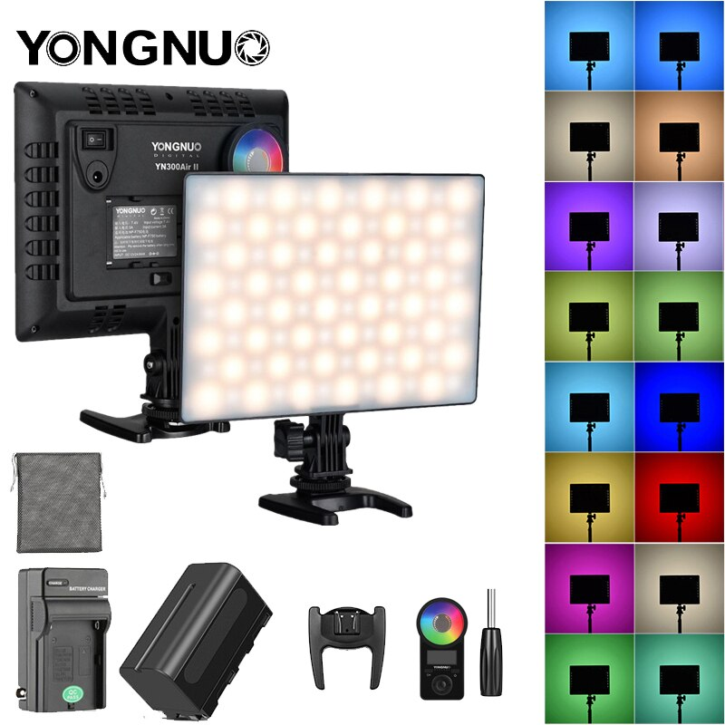 YONGNUO YN300 الهواء الثاني مصباح التصوير عن بعد Led ملء ضوء RGB كامل اللون ضوء رقيقة كاميرا لايف في الهواء الطلق اطلاق النار ضوء لينة