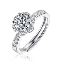 1ct 2ct 3ct 50points adjustable opening ecstatic moissanite ring 925 sterling silver for women wedding party anniversary jewelry