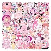 50pcs pink pokemon stickers kirby aesthetic cartoon anime graffiti pegatinas suitcase suitcase guitar waterproof naklejki