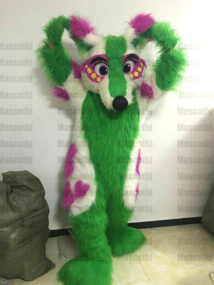 طويل الفراء الأخضر هاسكي الكلب الثعلب Fursuit زي التميمة فروي دعوى تأثيري فستان هالوين عيد ميلاد في الهواء الطلق حفلة كرنفال وتتسابق