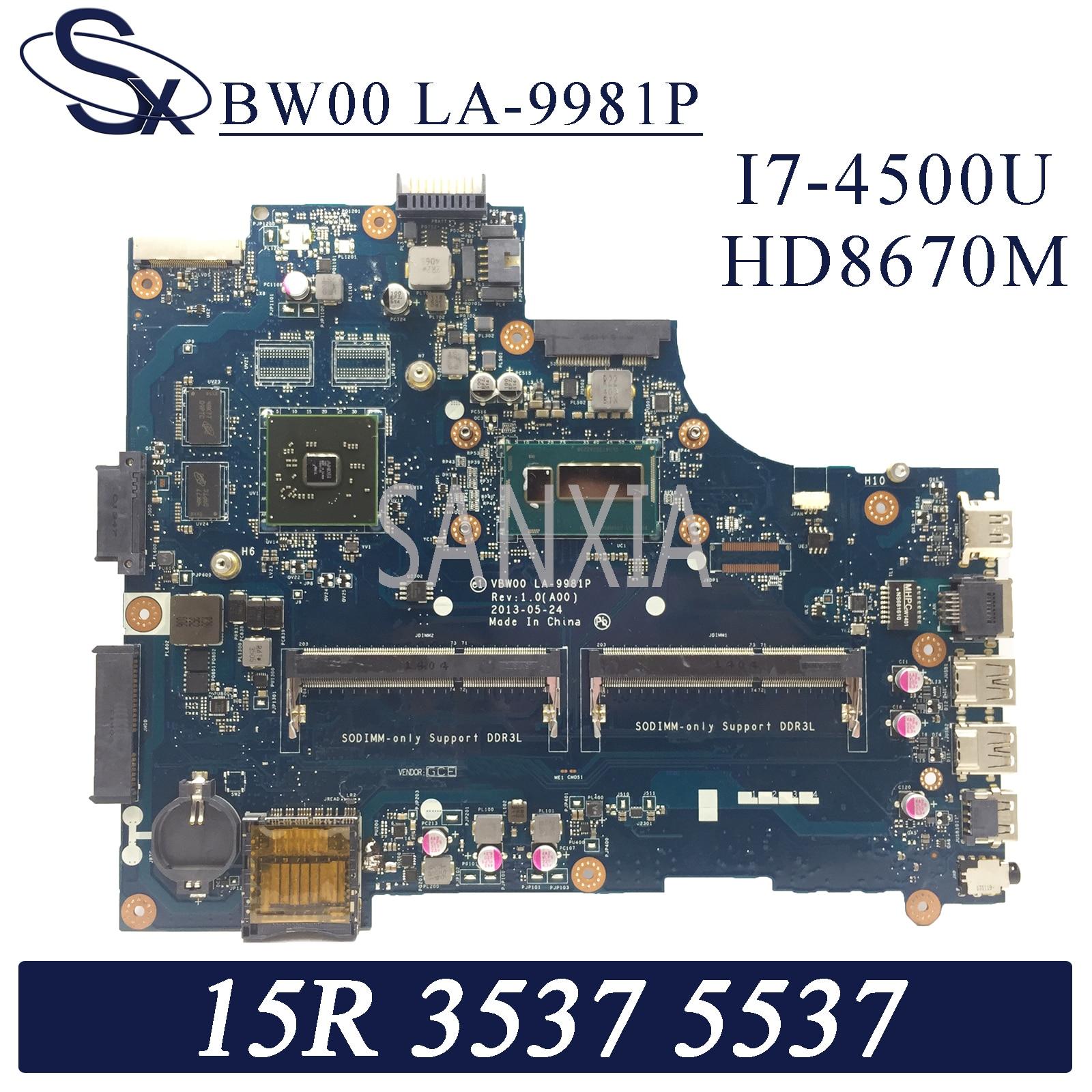 KEFU LA-9981P portátil placa base para Dell Inspiron 15R-3537 5537 placa base original de I7-4500U HD8670M