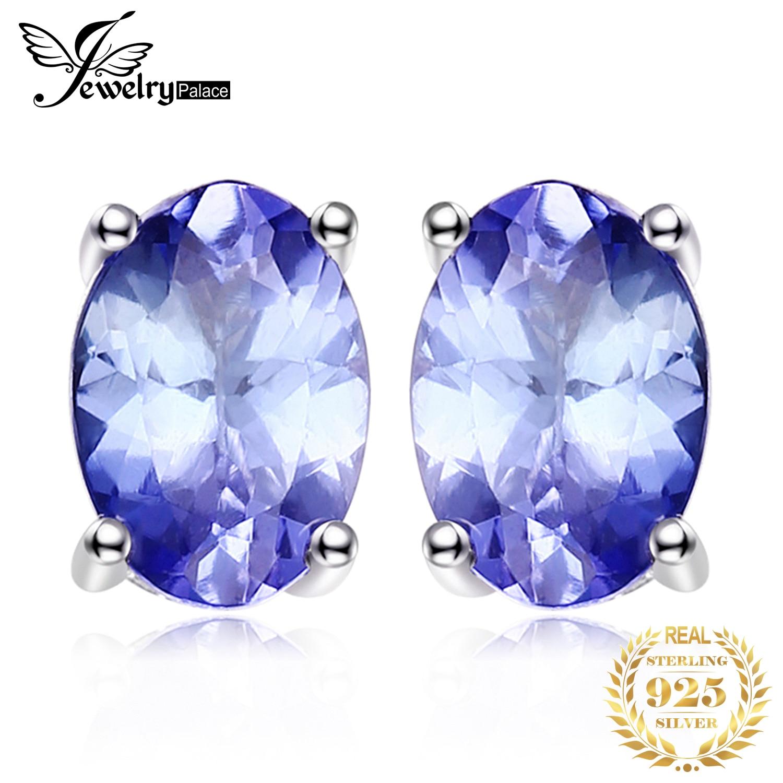 JewelryPalace 1ct tanzanita auténtica pendientes de plata de ley 925 pendientes de plata para mujer de piedras preciosas coreano pendientes de joyería de moda