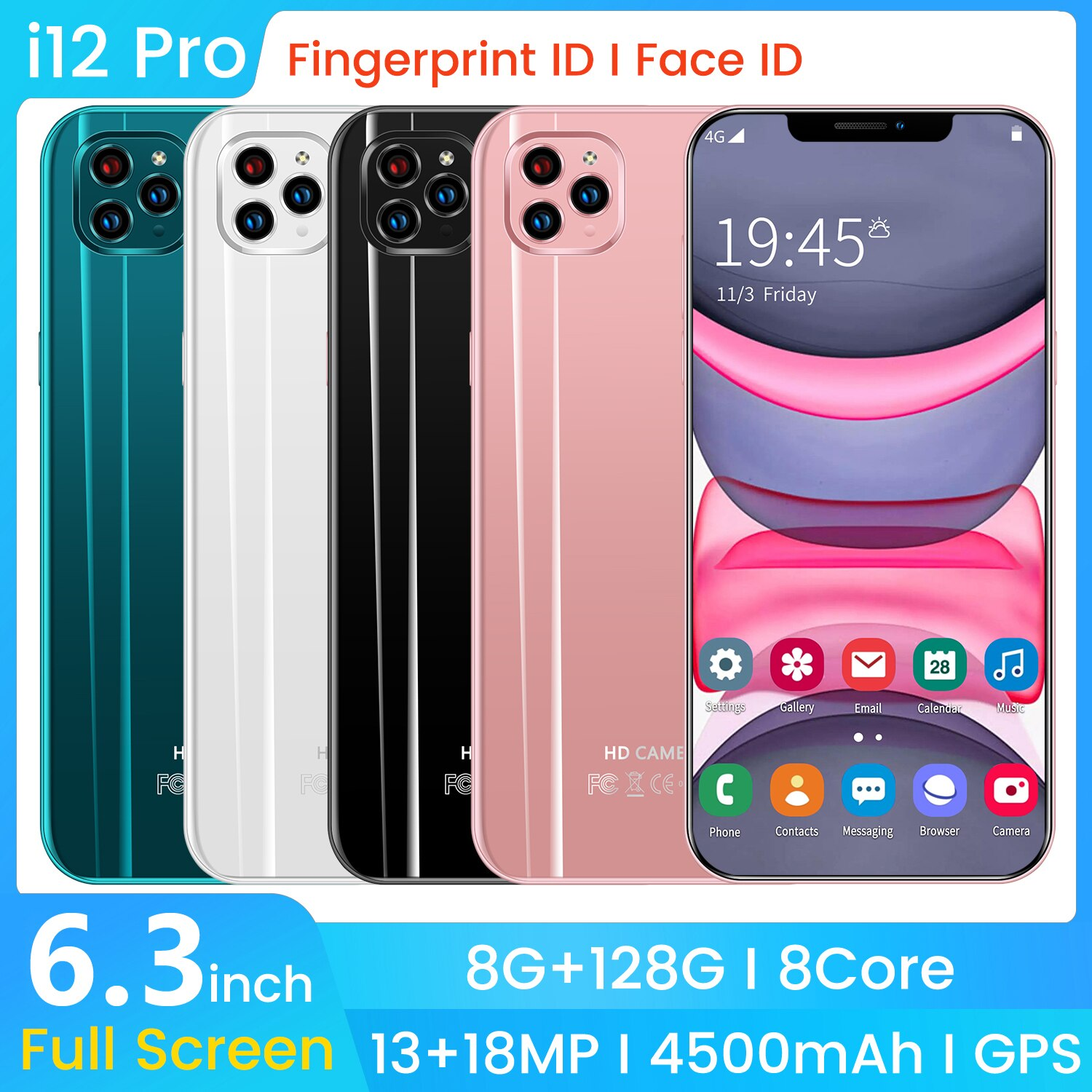 SAILF I12 Pro Android 10.0 Cheap Mobile Phone 6.3' FHD+ 13MP Triple Camera 8G RAM 128GB ROM Smartphone 4G gsm Global