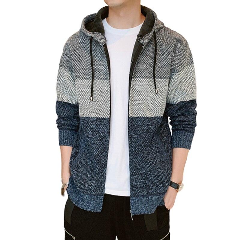 2020 épais Cardigan hommes chandail fermeture à glissière rayé à capuche couleur bloquant mode chaud mince tricoté chandail mâle polaire sweats à capuche manteaux