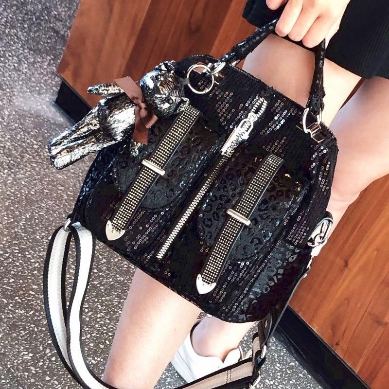 Black Sequines Ita Bag for Women Shoulder Crossbody Bolsos Bear Pendent Dual-use Handbag Tote Luxury Design Sac A Main