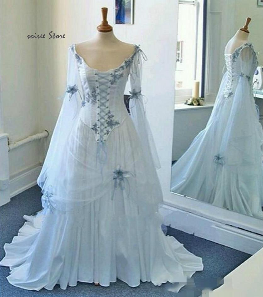 Vintage celta Medieval vestidos de boda góticos Corset Top flores de color azul marino princesa Bohemia boda Vestido mascarada traje Fiesta Vestidos