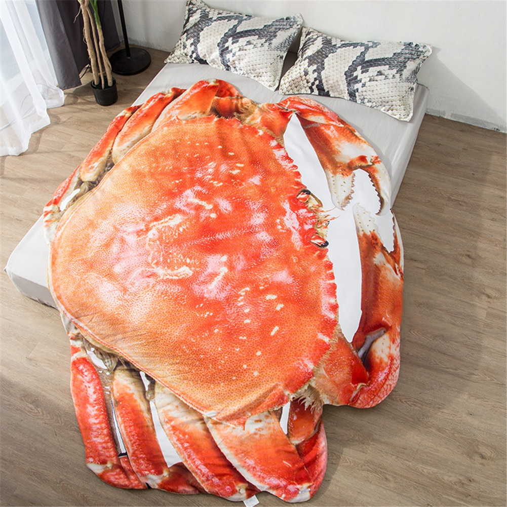 1 Uds verano fresco es el aire acondicionado, por una pequeña manta simulación peludo cangrejo creativo diseño divertido de alta calidad colcha para siesta