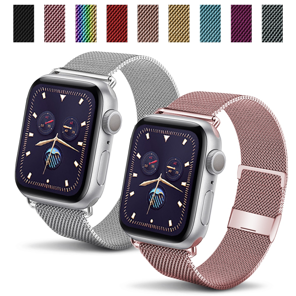 Milanese Bracelet Strap for apple watch series Se 6 54321 for smart metal iwatch stainless steel 44m