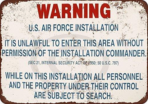 Настенный арт знак 12x1 Предупреждение США ВВС установка жестяной знак Декор