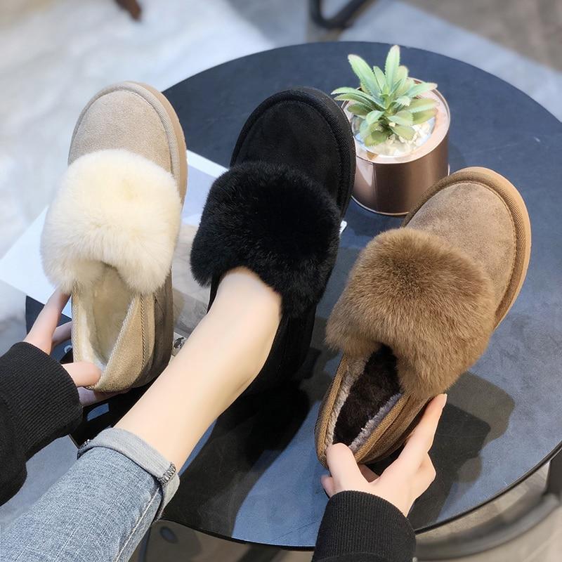 Zapatos de invierno botas de tobillo para mujer plataforma botas de piel femenina antideslizantes moda femenina zapatos de mujer botas de nieve peludas botas U11-24