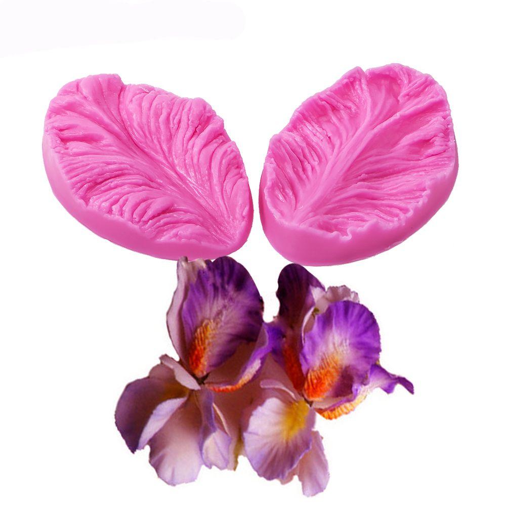 Molde de silicona Fondant 3D Flor de cocina decoración de boda moldes de artesanía de azúcar para hornear 2 piezas hojas de pastel DIY