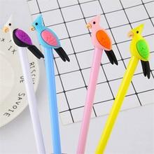 2pcs Cute Cartoon Parrot Gel Pens Kawaii Stationery 0.5mm Black Ink Signature Pens Kids Reward Gifts School Office Supplies
