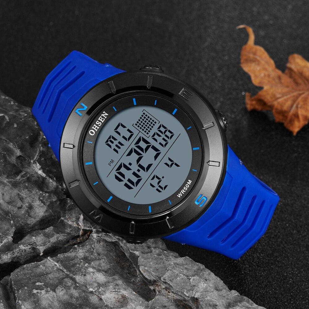 OHSEN reloj para hombre azul resistente al agua reloj deportivo ejército digital LED de silicona cronómetros para hombre relogio Relojes