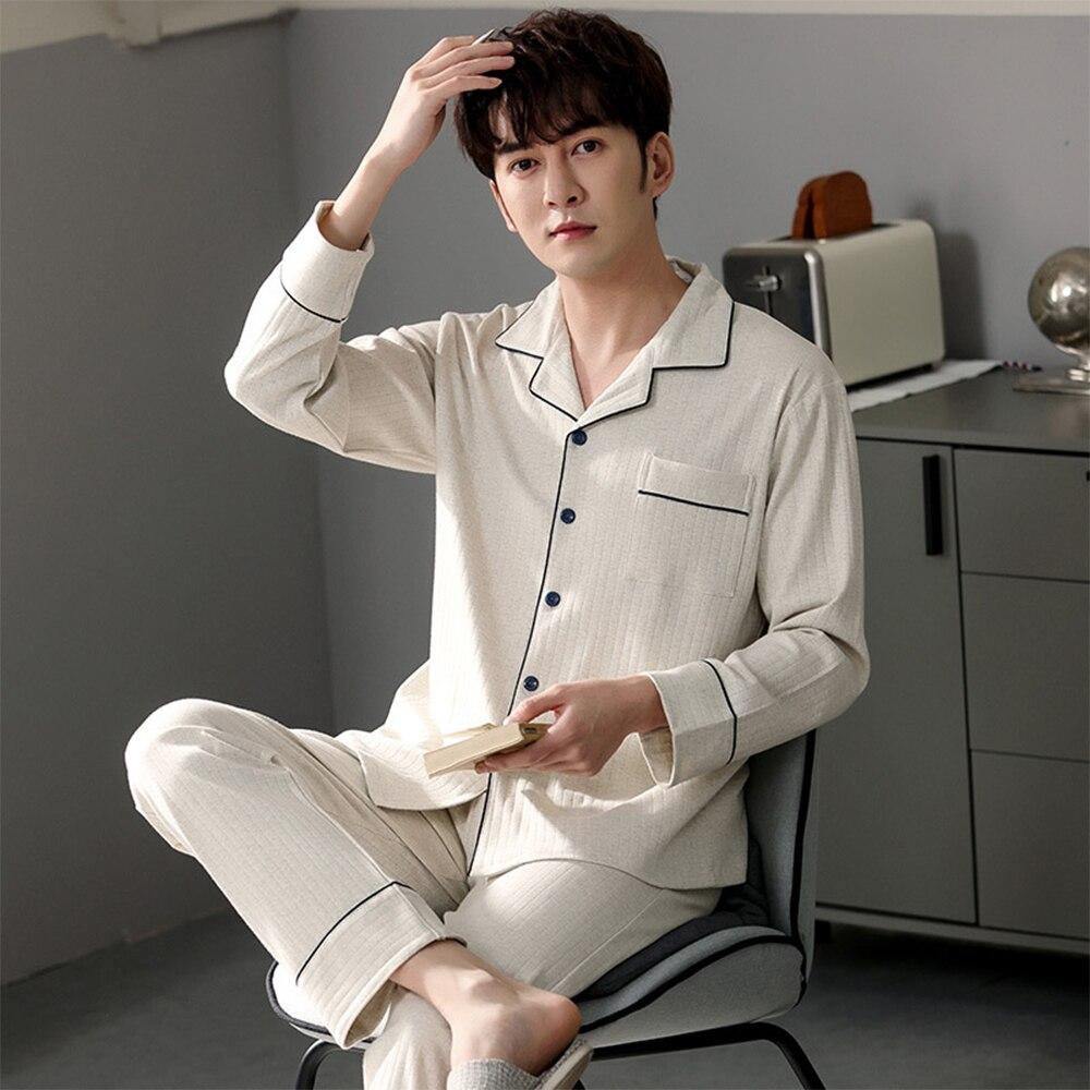 2021 весна однотонный пижама комплекты 100% 25 хлопок двойной плед мягкий пижамы для мужчин осень мужской повседневный плюс размер одежда для сна дом одежда