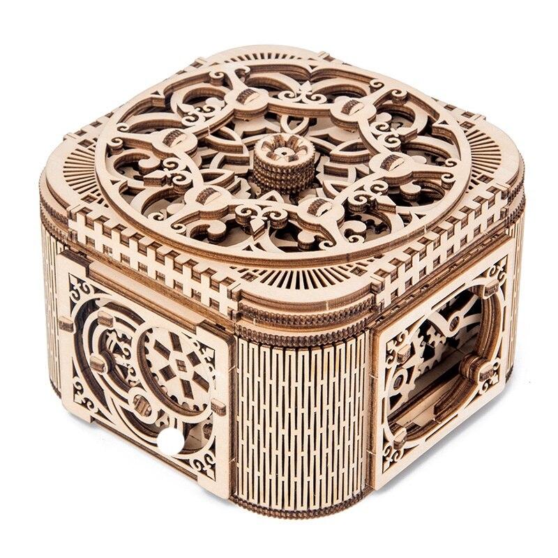 Rompecabezas de madera modelo bloques de construcción-juguetes ensamblados DIY-caja de joyería creativa de transmisión mecánica de madera ensamblada modelo Treas