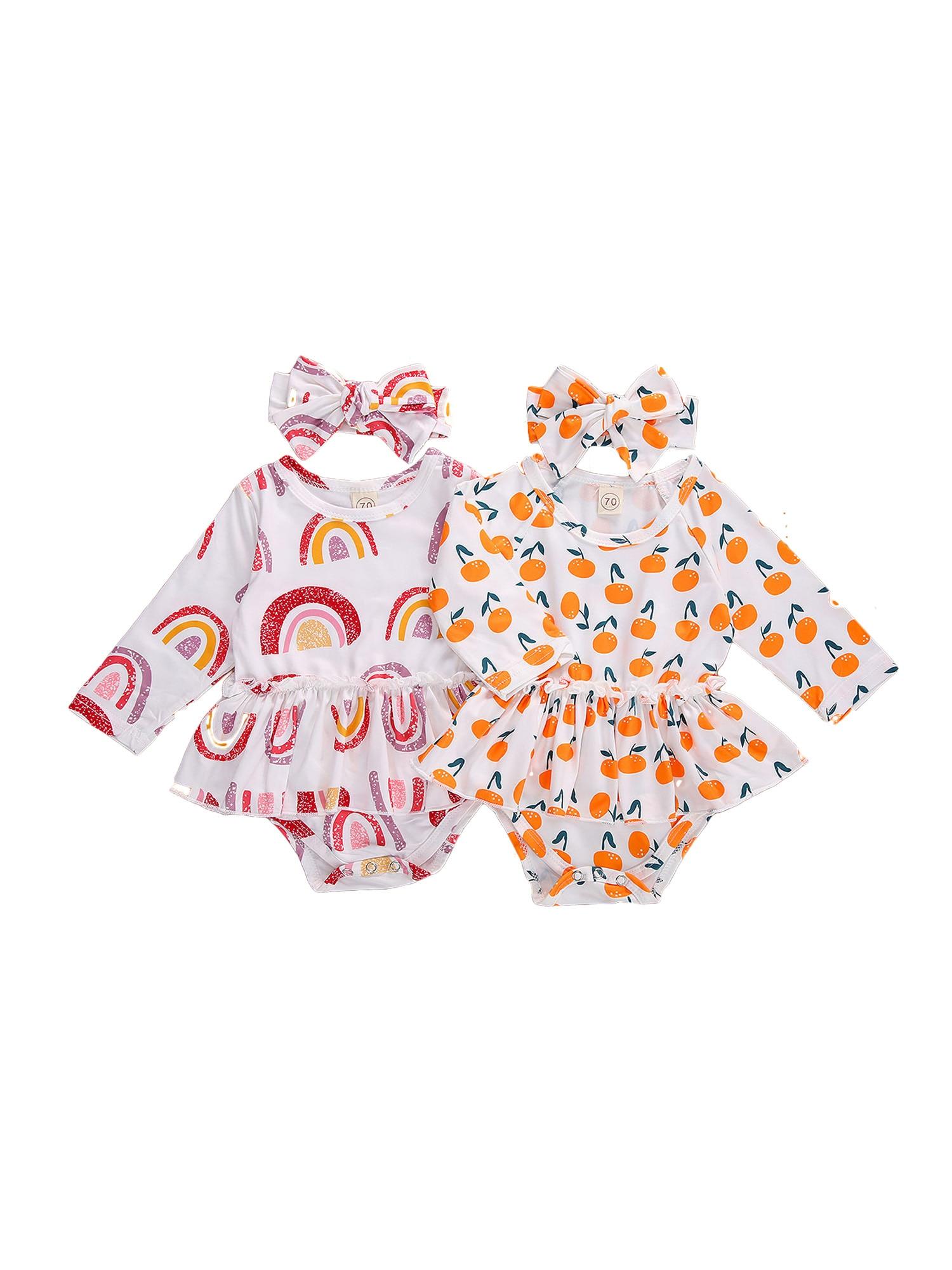 Imcute, monos de verano con estampado naranja de arcoíris a la moda para niñas, mono de manga larga con triángulo envuelto y diadema