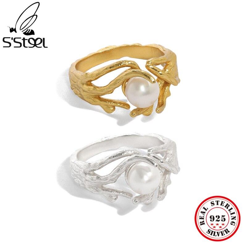 S'STEEL 925 пробы серебряные кольца с жемчугом для женщин Роскошные сочетающиеся корейские обручальные кольца 2021 Модные Изящные Ювелирные изде...