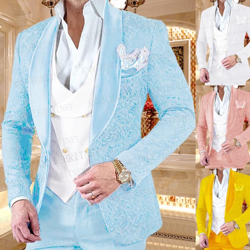 بدلة رجالية رسمية من الجاكار الأزرق السماوي ، بدلة عمل ، قصة ضيقة ، للعريس ، فستان سهرة ، بدلة سهرة ، سترة وسراويل ، 3 قطع