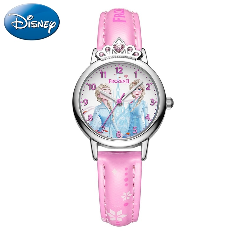 Frozen Ⅱ Elsa Disney Princess 3D Girls Quartz Watch Fashion Trendy Girl Time Child Leather Waterproof Clock Luxury Crystal Crown