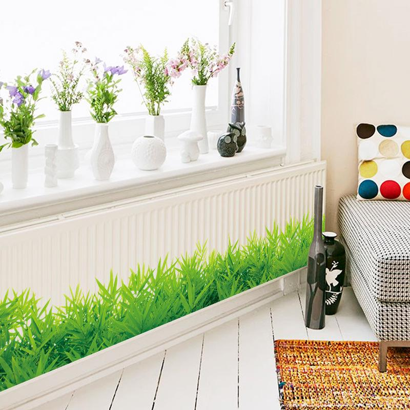 Placa base de hierba verde fresca 3D, pegatinas de pared de PVC, rodapié para niños, sala de estar, dormitorio, cocina, cuarto de baño, balcón, decoración del hogar