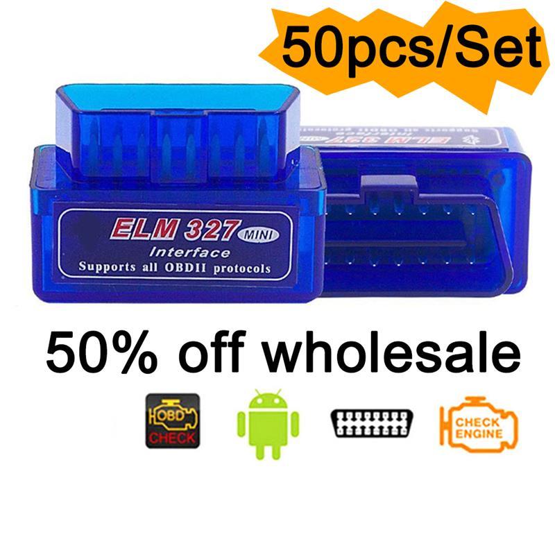 50Pcs/Set New Super Mini ELM327 Bluetooth V2.1 OBD2 Wireless Car Diagnostic Scanner Universal OBD II Auto Scan Tool For Android