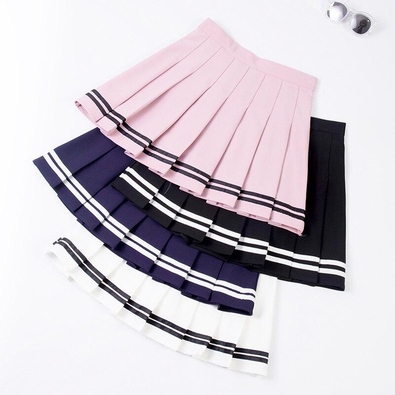 Faldas plisadas de cintura alta nuevas 2019 coreanas a rayas A-line Mini falda femenina cintura elástica dulce falda de danza para niñas P068