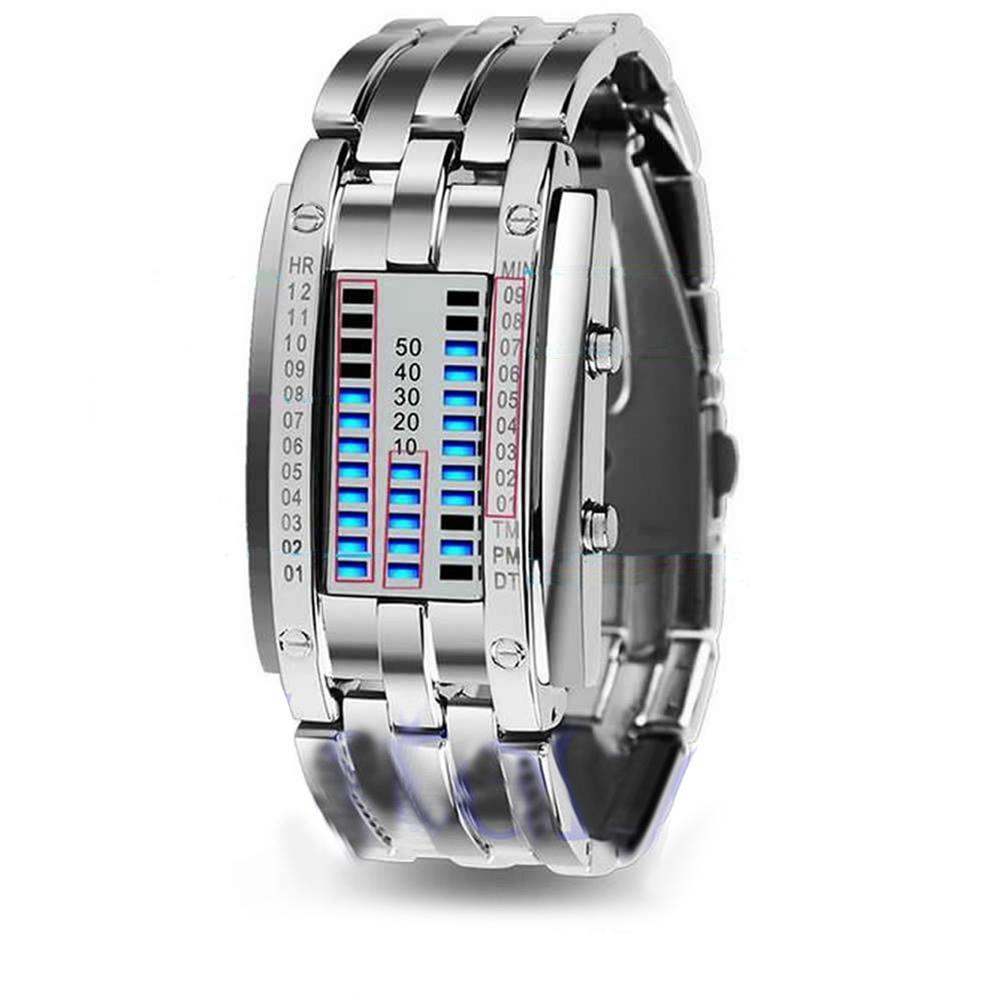 Reloj de hombre de hierro Samurai, reloj de lujo de acero inoxidable con banda LED, reloj electrónico deportivo para hombre, reloj Digital Led para hombre