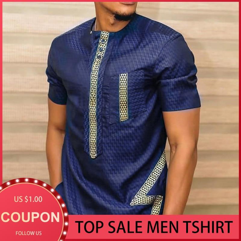 2021 свободная Мужская рубашка с коротким рукавом с принтом, африканские Дашики, длинная Повседневная футболка, Мужской Топ, модная футболка, ...