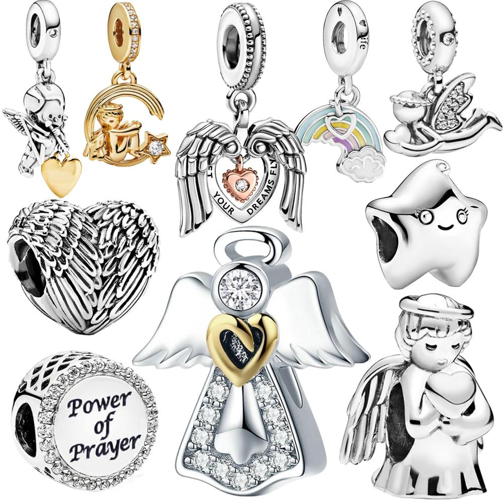 Новинка 100% серебряные бусины 925 пробы Крылья Ангела любовное Сердце Подвески подходят оригинальные Пандора браслеты для женщин DIY ювелирны...