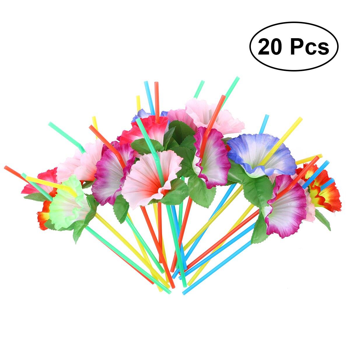 20 pièces fleur Flexible pliable pailles à boire décoratif jetable pailles fête Table décor pour mariage anniversaire noël Fes