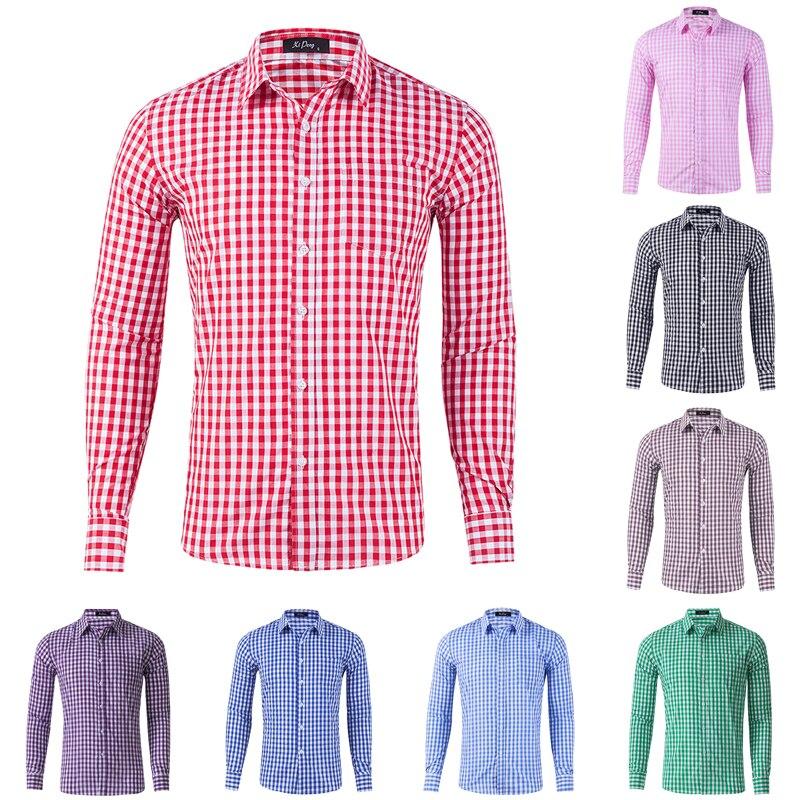 Camisas de vestir para hombre, camisas de manga larga de botones a cuadros, Camisa cómoda de algodón para hombre, camisas informales a cuadros para chico, nuevas Streetware
