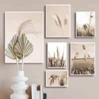 pampas grass wall art paintings nordic landscape poster for home design trees plant canvas picture for living room frameless