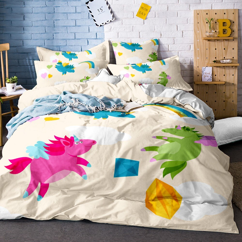 Conjunto de ropa de cama de unicornio de dibujos animados nubes conjunto de edredón estampado romántico juego de ropa de cama Arco Iris niños dormitorio decoración juego de cama de animales