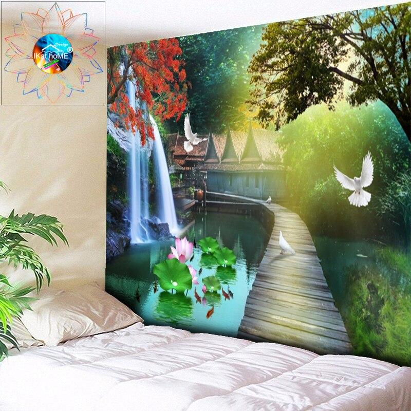 Tapiz psicodélico de decoración bohemio con Mandala de flores, tapiz de pared colgante de loto, paisaje de estanque, tapiz de tela grande gobelino