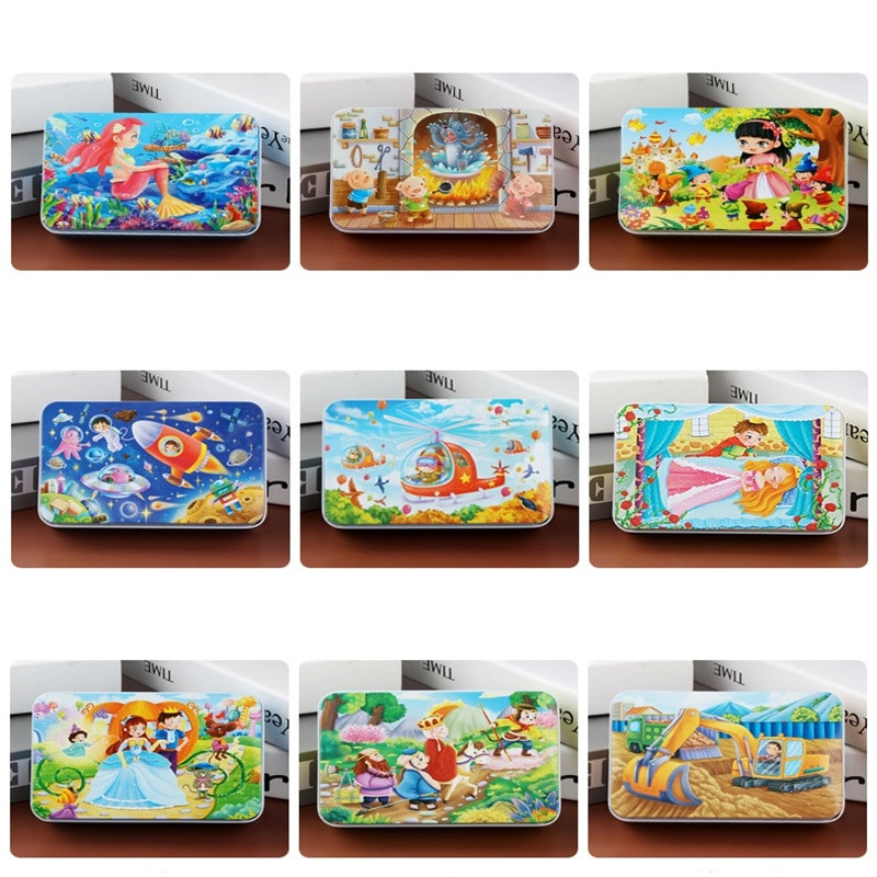 60 Pieces Wooden Puzzle Toys for Boys Girls Cartoon Animal Vehicle Wood Jigsaw Baby Montessori Educa