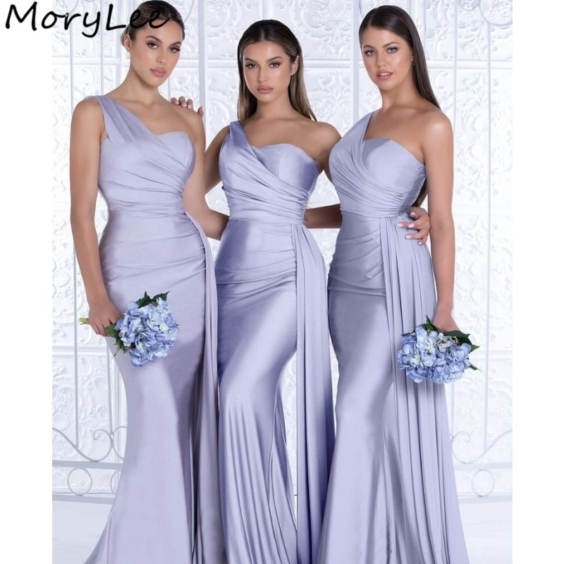 Bridesmaid Dresses Sweetheart One Shoulder Spandex Satin Mermaid Bridesmaid Dresses With Zipper Wedding Party Bridemaid Gowns