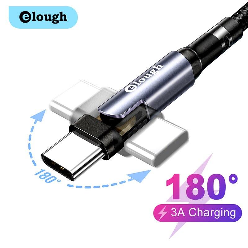 Elough-Cable USB tipo C de carga rápida 3A, cargador de teléfono, rotación...