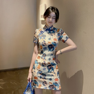 2021 Summer New Modified National Style Short Literary Cartoon Retro Playful Girl Cheongsam Dress
